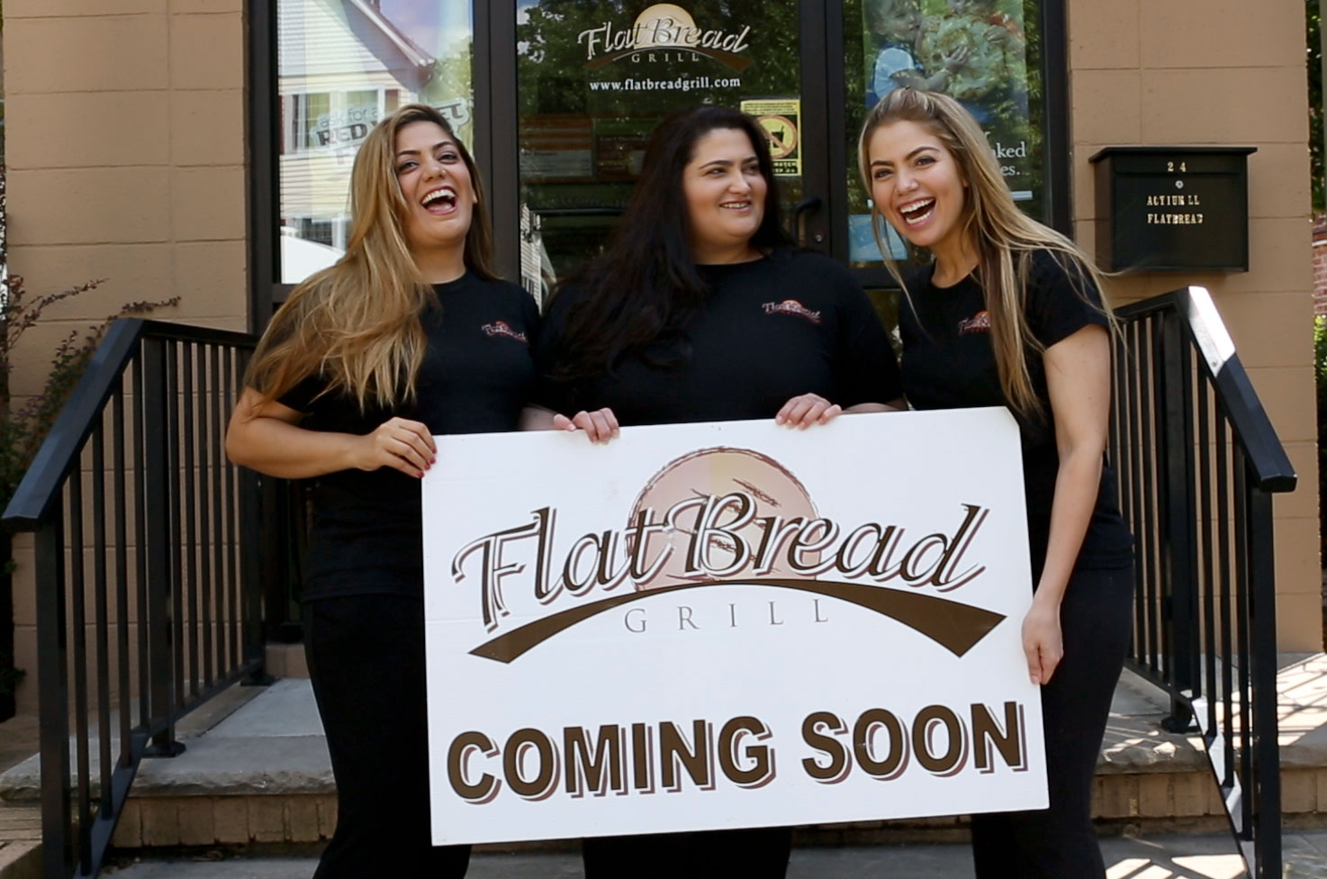 The original Flatbread Grill store in Montclair with a Coming Soon sign out front.